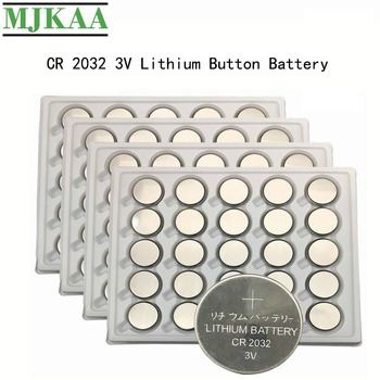 MJKAA 100PCS CR2032 Battery Button Cell Coin 3V Lithium Batteries CR 2032 BR2032 DL2032 ECR2032 For Watch Electronic Toy Remote