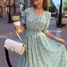 Simplee Women floral print dress Elegant women puff sleeve a line v neck sash dress High waist work wear office lady dress 2020