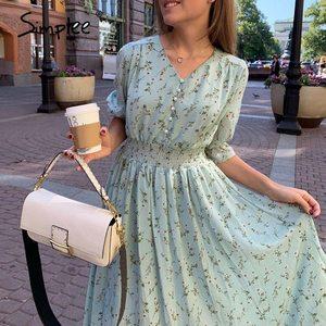 Simplee kobiety sukienka z kwiatowym nadrukiem eleganckie kobiety bufiaste rękawy linia v neck sash sukienka wysokiej talii odzież do pracy urząd lady sukienka 2020