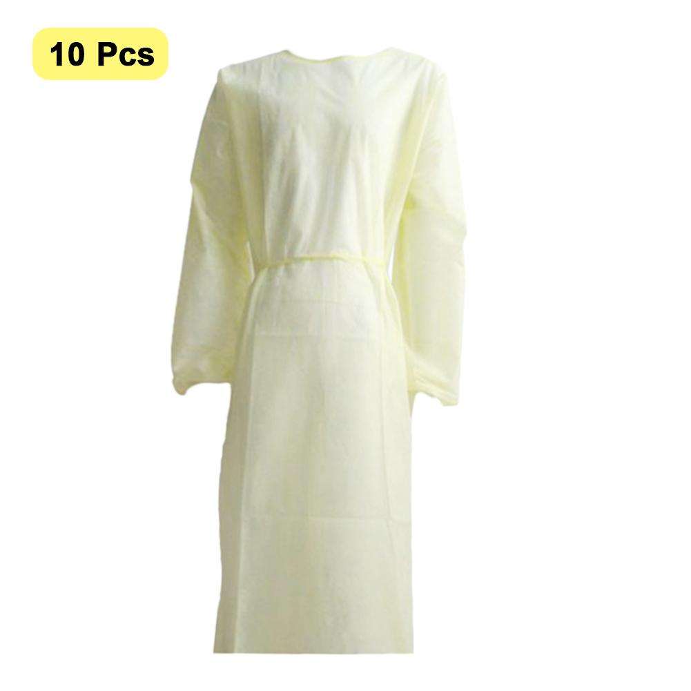 50PCS Disposable Protection Gown Breathable Protective Isolation Clothing For Outdoor Cycling Anti-fog Anti-particle Lab Coat