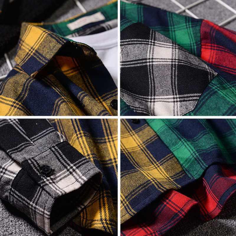 ヒップホップストリートパッチワークパンクカジュアル格子縞のシャツ男性長袖高品質 2020 春秋