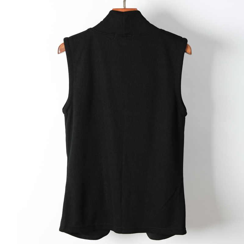 하이 스트리트 남자 조끼 캐주얼 블랙 양복 조끼 가을 힙합 스타일 슬림 맞는 뜨개질 카디건 민소매 자켓 겉옷 M-3XL