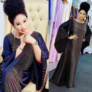 Plus Size African Dresses Abayas For Women Dashiki Diamond African Clothes Caftan Abaya Dubai Robe Evening Long Muslim Dress