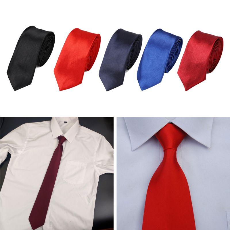 Men Pretied Ready Made Solid Color Zipper Tie Adjustable Business Formal Necktie