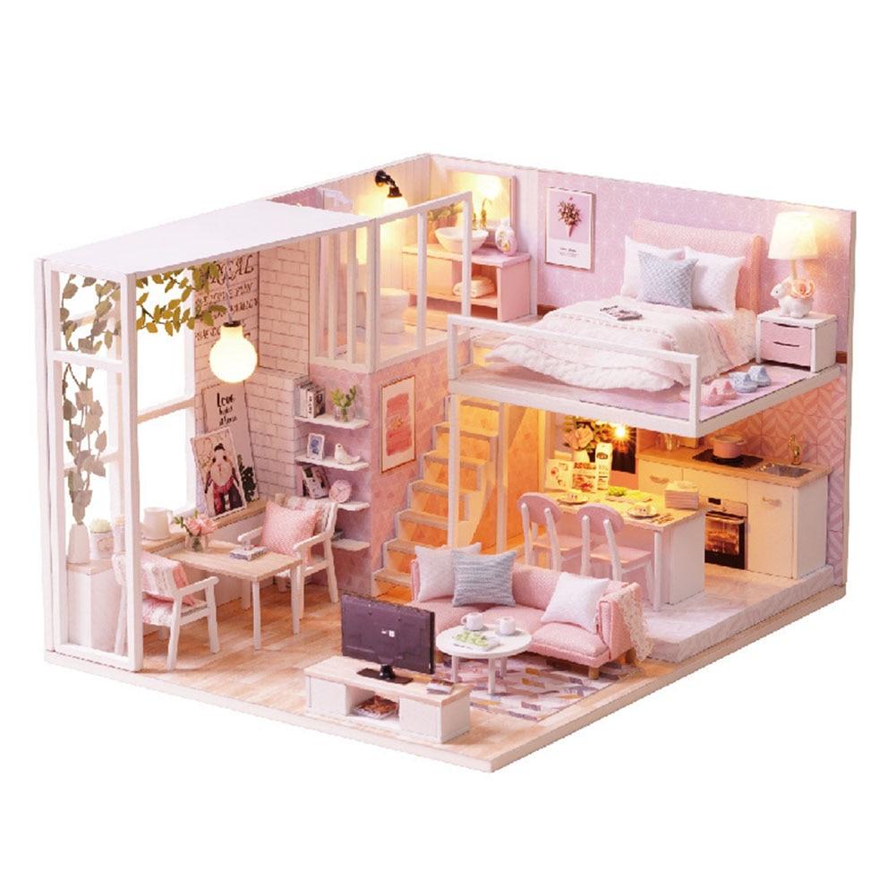 Juego de madera casa casa de muñecas set muñecas Tube muñecas villa juguetes de casa con mobiliario
