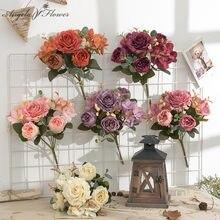 Retro Hortensia ramo de flores artificiales de peonía ramo de novia a casa Flor de decoración de bodas acuerdo accesorios apoyos de la foto