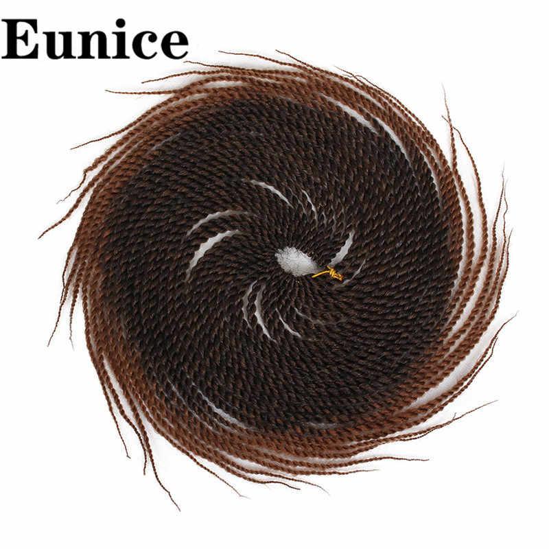 Ombre Rambut Mengepang Senegal Twist Crochet Ekstensi Rambut Sintetis Crochet Kepang Abu-abu Pirang Warna 14/18/24 Inch eunice