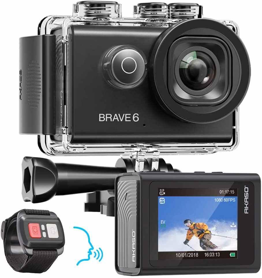 AKASO Brave 6 4K 20MP WiFi Action กล้องควบคุม EIS 30 M กล้องกันน้ำใต้น้ำรีโมทคอนโทรล 6X ZOOM กีฬา CAM