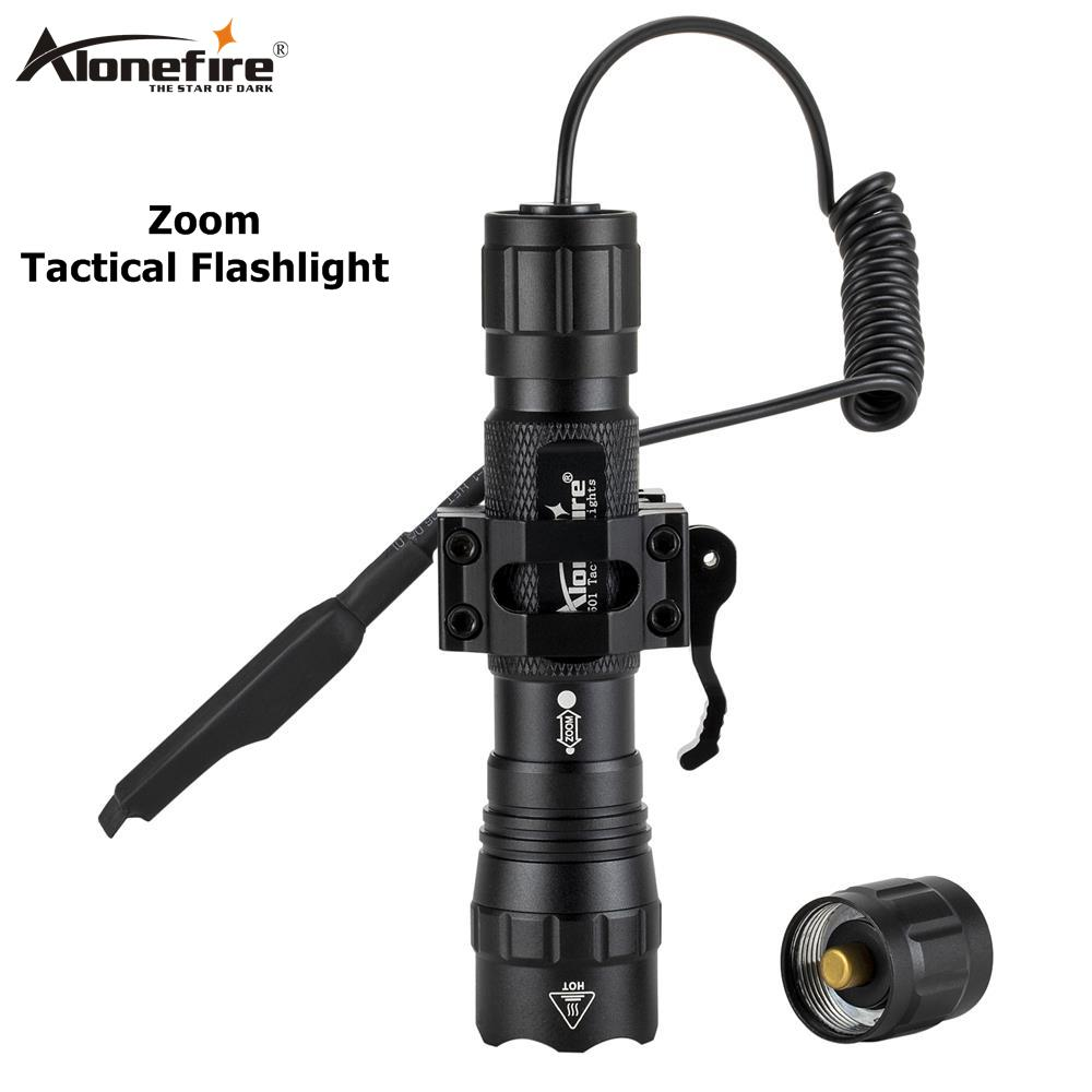 AloneFire Tk503 Zoomable LED Hunting Light Night Vision Infrared Radiation Flashlight+scope Mount+Pressure Switc Tactical Huntin