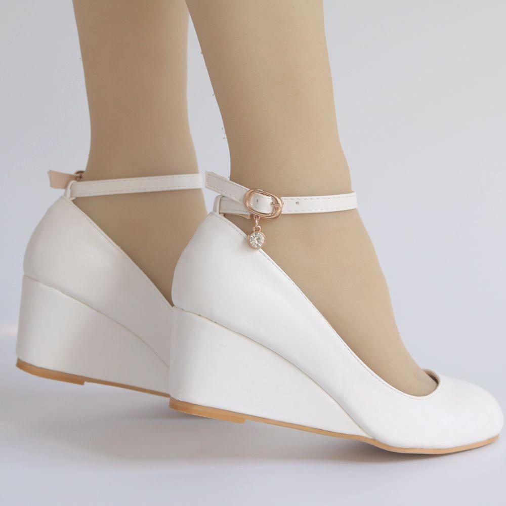 White Wedges Heels Pumps Shoes Woman Ankle Buckle Straps Ladies Casual Party Wedding Proms White Dress Pumps Shoes Plus Size