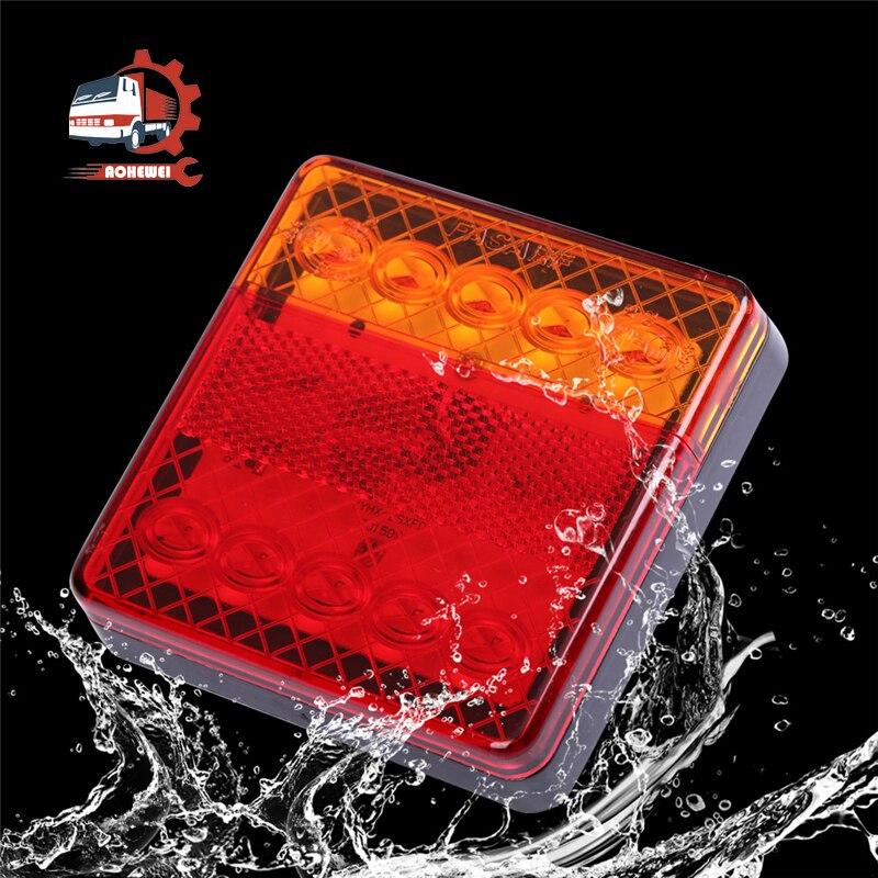 Aohewei led reboque luzes de freio traseiro lado indicador da lâmpada cauda sinal volta para o caminhão do barco caravana caminhão van 12v à prova dwaterproof água 2 pcs