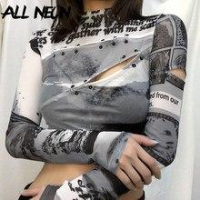 ALLNeon-camisetas cortas de manga larga para mujer, ropa de estética Y2K, transparencias, cuello levantado, con anillos, e-girl estampado de letras, Tie Dye Mesh