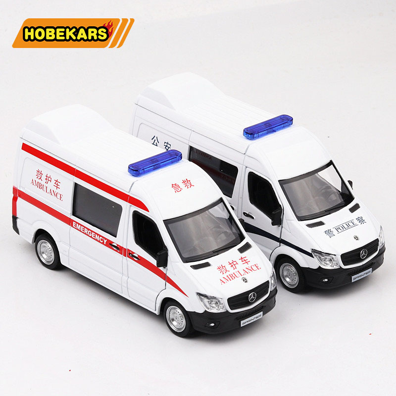 Ambulance Police 1/36 Diecast Model Car Metal Alloy High Simulation Cars Toys Vehicles For Kids Gifts For Children