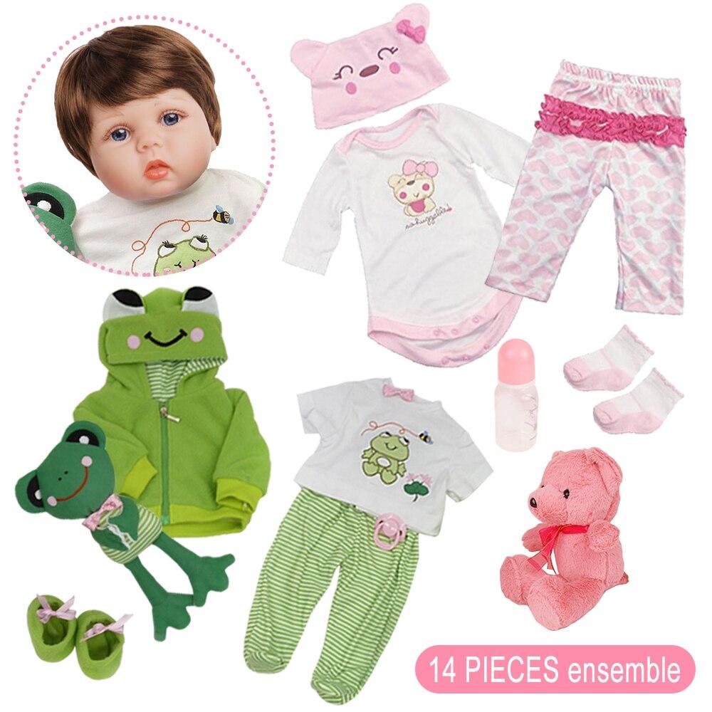 55cm reborn bebe boneca 2 outfits recem nascido 05