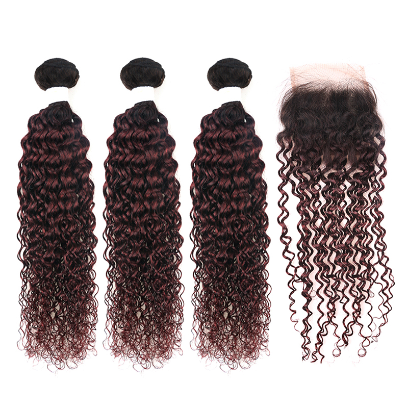 1B/99J Burgundy Kinky Curly Human Hair Bundles With Closure 4*4 Brazilian Ombre Color Hair Extension KEMY HAIR Non-remy 3PCS