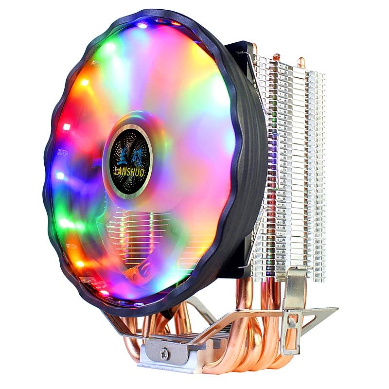 RGB LED CPU Cooler 2/4/6 Copper Tube Heatpipe 9/12CM Cooling Fan Heatsink Radiator for 1150/1151/1155/1156/775/1366 AMD 2011