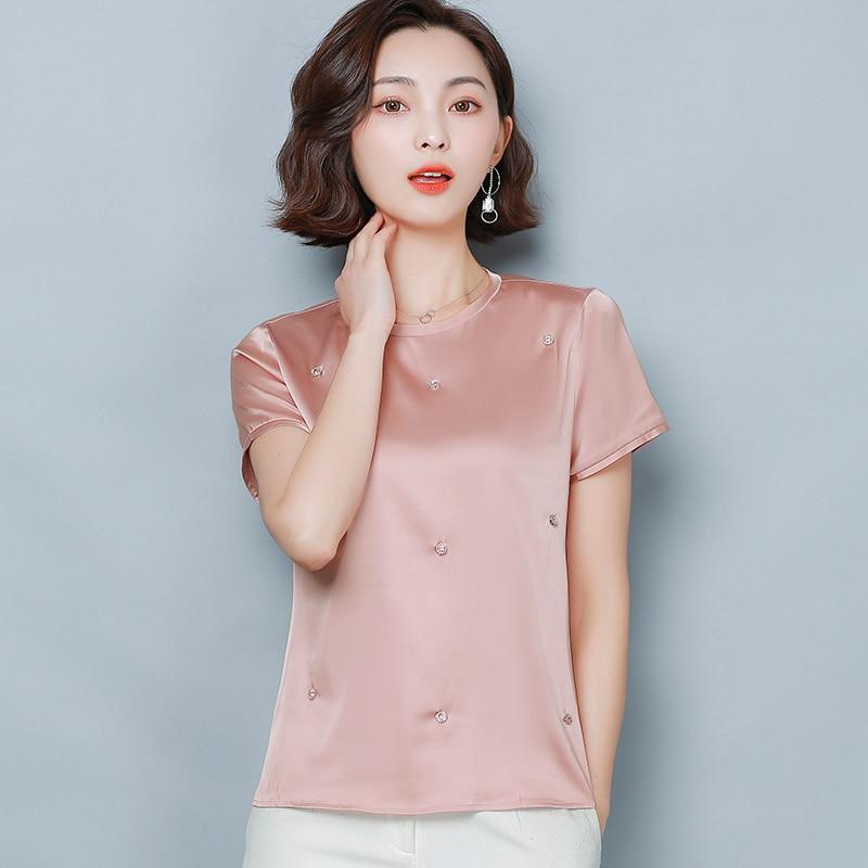 Korean Silk Women Blouses Women Satin Blouse Top Plus Size Blusas Mujer De Moda 2020 Woman Solid Beading Blouses OL Stretch Top