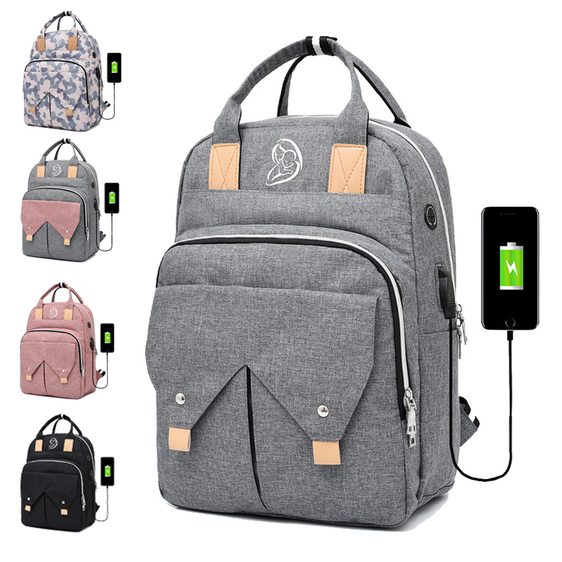 Diaper Bag Backpack USB Fashion Mummy Maternity Baby Bags Shoulder Strap Waterproof Handbag Baby Care Travel Nappy Nursing