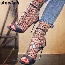 Aneikeh جديد الصيف بريق المصارع الهواء شبكة مثير الصنادل أحذية امرأة عالية الكعب اللمحة تو متجرد سستة حزب رقيقة الكعوب مضخاتكعب عالي