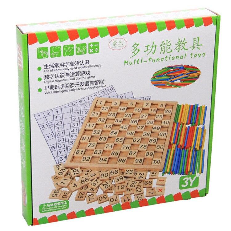 Bois Montessori aides pédagogiques calcul mathématique caractères chinois dominos cognitifs 1 100 avec numéros plaque continue - 3