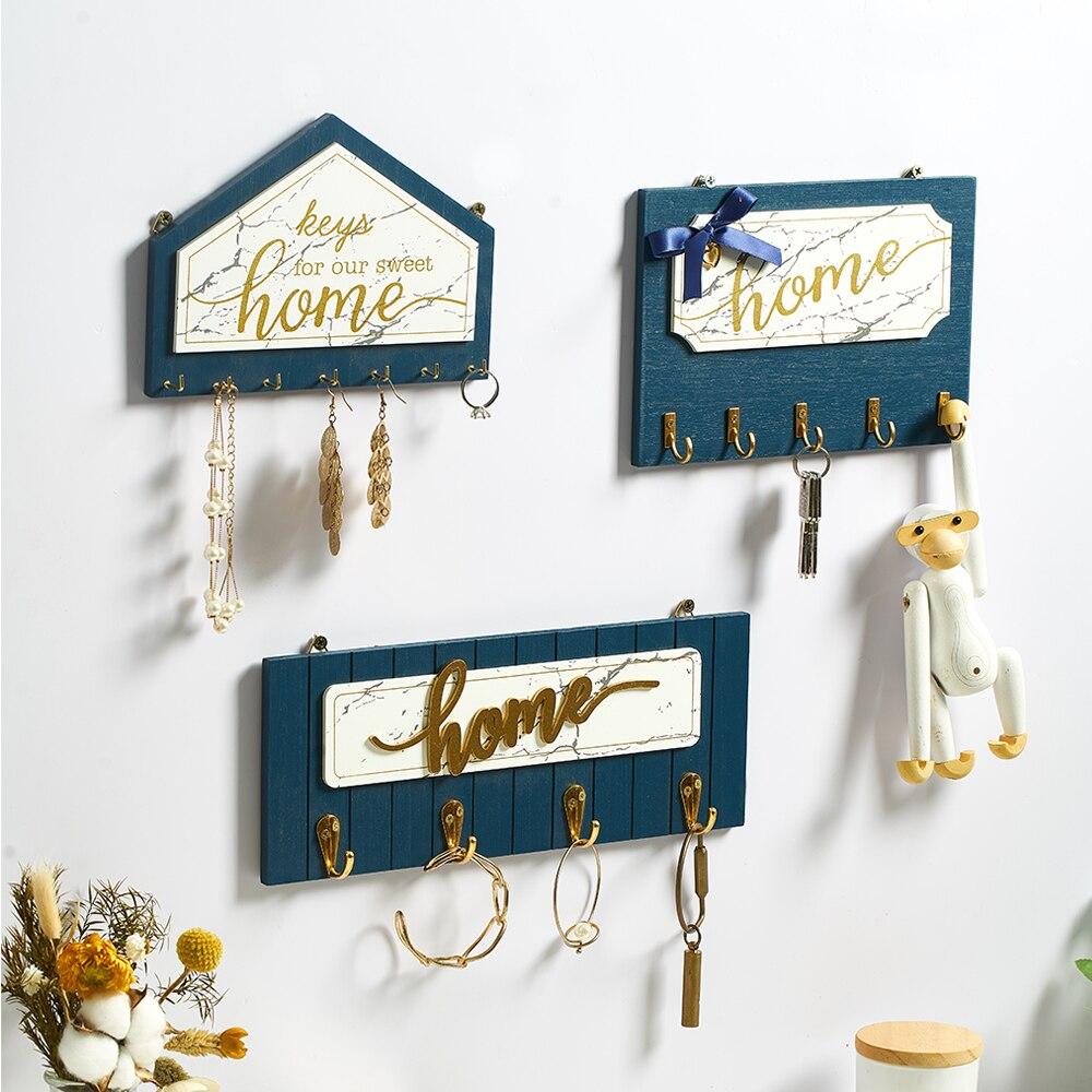 Wieszak ścienny drewniany wieszak na klucze wieszak na płaszcze Vintage przedpokój oszczędność miejsca w domu małe drzwi do sypialni powrót dekoracyjny stojak na pokój