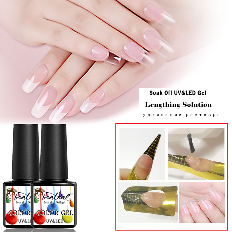 Beateal Newest Products Camouflage Clear Uv Nail Polish Builder Construction Extend Nail Soak Off Jelly Poly Gel Top Base Coat