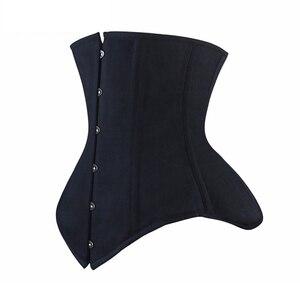 Image 5 - Burvogue Underbust Corset Bustier Steampunk Steel Boned Slim Waist Control Corset for Women Waist Trainer Corselet Plus Size