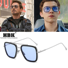 лучшая цена HBK Luxury Avengers Tony Stark Sunglasses Men Spiderman Edith Glasses Flight Style Iron Man Square Brand Design Oculos De Sol