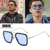 HBK luxe Avengers Tony Stark lunettes De soleil hommes Spiderman Edith lunettes Style vol fer homme carré marque Design Oculos De Sol