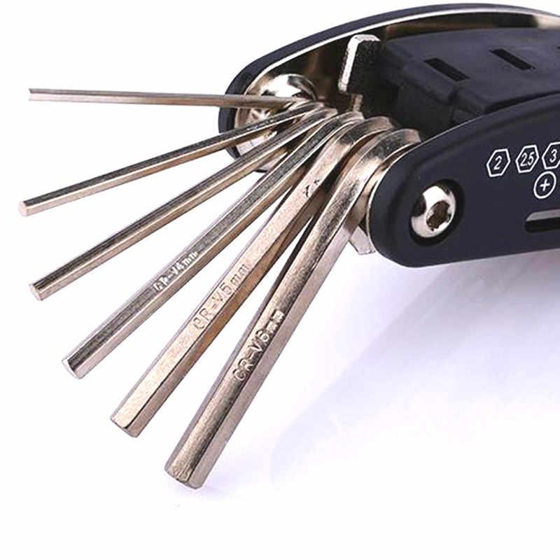 15 en 1 Multi Usage vélo vélo réparation vélo outils Kit clé hexagonale écrou pneu réparation hexagonale Allen clé tournevis douille rallonge tige