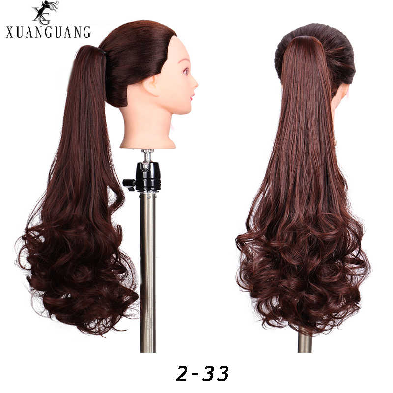 XUANGUANG New ponytail wig female long curly hair big wave synthetic fiber wig grasping clip women's ponytail hair