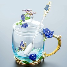 320 / 350ML Beautiful Enamel Cup, Glass, Household Set, Flower Tea, Crystal Coffee Cup, Beer Mug, Couple Wedding Gift