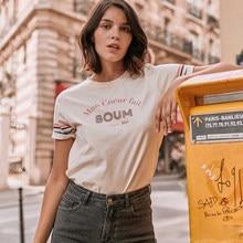 Haftowany T-Shirt damski wzór w napisy w paski Casual miękka bawełna beżowy Tees topy lato 2021 Retro Vintage t-shirty Femme
