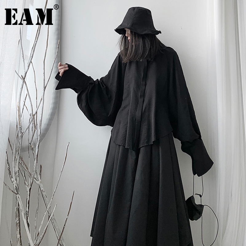 [EAM] Women Asymmetrical Big Size Blouse New Stand Collar Long Sleeve Loose Fit Shirt Fashion Tide Spring Autumn 2020 1S234