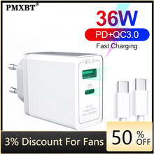 36W USB Charger Quick Charge 4.0 PD 3.0 Type C Fast Charger US EU UK Plug Power Adapter For iPhone 11 Pro Max Xiaomi Mi 9 QC3.0 36w usb charger quick charge 4 0 pd 3 0 type c fast charger us eu uk plug power adapter for iphone 11 pro max xiaomi mi 9 qc3 0