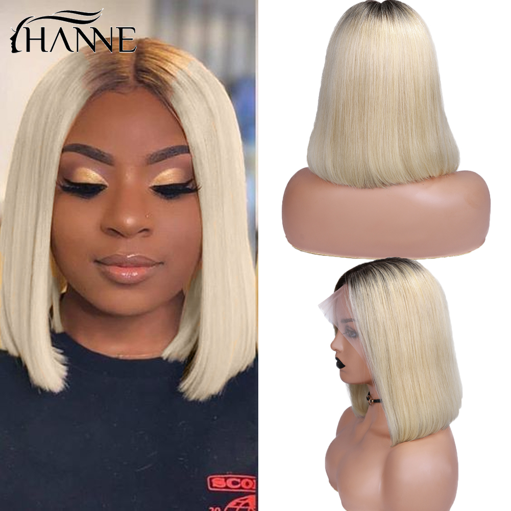 Lace Front Human Hair Bob Hair Wigs Virgin Brazilian Wig for Women Ombre Blonde 613# Short Lace Wigs Straight Colored Human Wig image