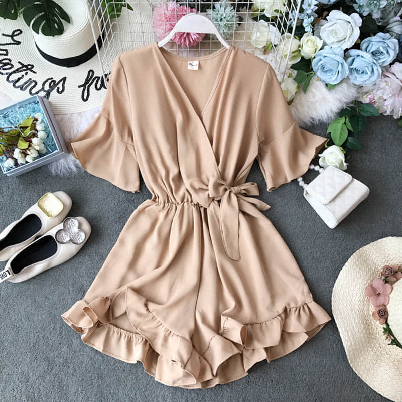 Ha63af0127bb84a318352aedbaa6c9543s - Candy Color Elegant Jumpsuit Women Summer Latest Style Double Ruffles Slash Neck Rompers Womens Jumpsuit Short Playsuit