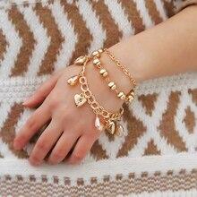 Friendship Heart Pendant Ladies Chain Bracelets for Women Multilayer Elegant Bracelet Set Gold Ball Rhinestone Statement Jewelry