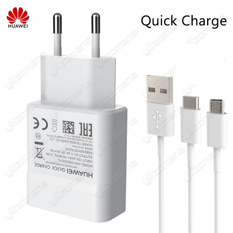 Оригинальное быстрое зарядное устройство Huawei 5 В/2A 9 В/2A QC 2,0 USB быстрая зарядка для Huawei P8 P9 Plus Lite Honor 8 9 Mate 8 10 Nova 2 2i 3 3i
