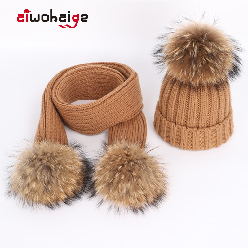 New Winter Women's Knitted Cotton Hats Warm Raccoon Fur Pom-pom Children's Knitted Beanie Ski Hat Scarf Parent-child Caps Bonnet
