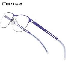 Screwless Eyewear Frame Eyeglasses FONEX Optical-Prescription New B Men Titanium 8529