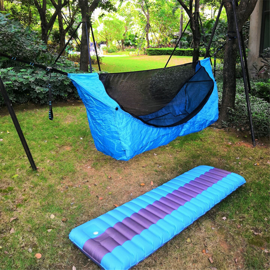 Single Sun Protection Hammock Inflatable Mattress Mosquito Net Hammocks Sets Home Courtyard Camping Trip Anti-mosquito Hammock