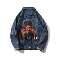 KIMSERE Fashion Hi Street Ripped Paintd Jean Jackets For Man Streetwear Hip Hop Rock Denim Trucker Jacket Outerwear With Holes