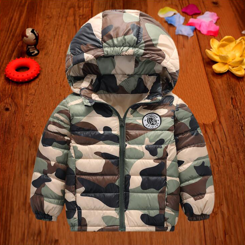 BINIDUCKLING Camouflage Kids Winter Down Jacket For Boy Girls Cotton Parka Hooded Warm Children Jackets Outerwear Boy Clothing
