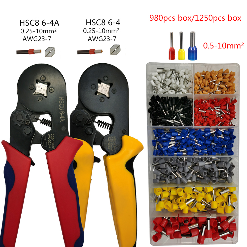 Tubular Terminal Crimping Tools HSC8 For 0.25-10mm2 23-7AWG Terminals High Precision Electrical Pliers Clamp Sets