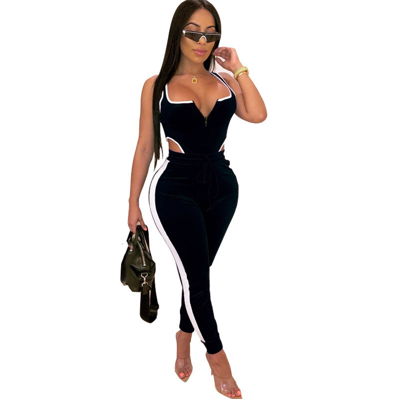 Sexy Two Piece Set Women Clothing Tracksuit Velvet Bodysuit Top And Pant Fall 2 Piece Club Outfits Matching Sets