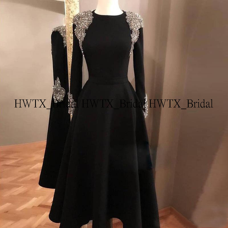 HWTX_Bridal Luxury Crystals Beaded Evening Dress With Long Sleeves Black A-Line Tea Length Prom Dresses Formal Party Gown 2020