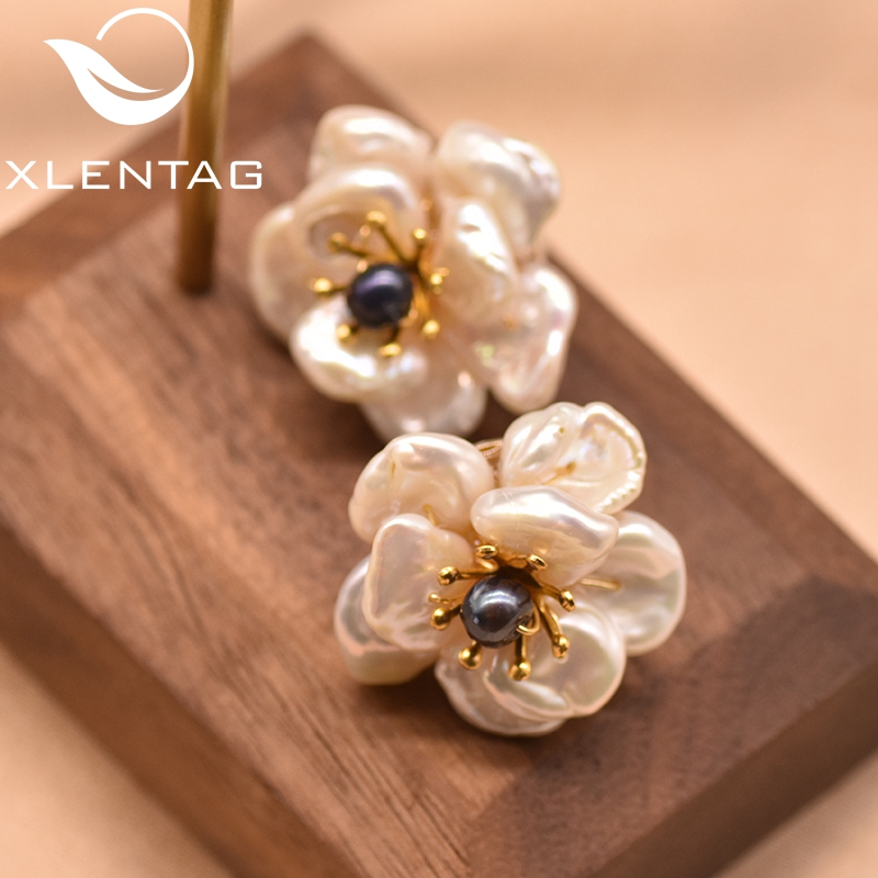 XlentAg Natural Baroque Pearl Earrings For Women Gothic Charms Piercing Aesthetic Flower Stud Earings Silver 925 Jewelry GE0664