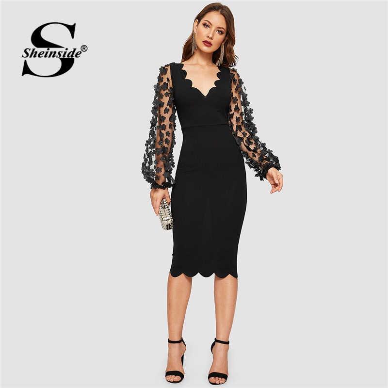 Sheinside czarny aplikacja siatki rękawem sukienka kobiety 2019 jesień latarnia rękaw sukienki midi panie muszelki V Neck Bodycon sukienka