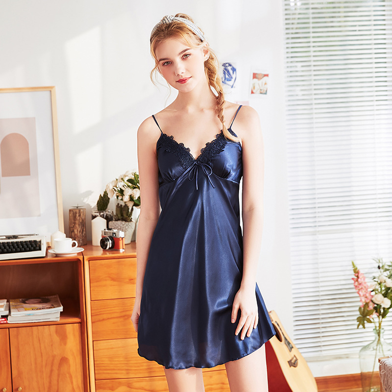 Yao Ting New Style Silk Pajamas Women's Summer Lace-up Sexy Slip Nightdress Tracksuit Dq1118